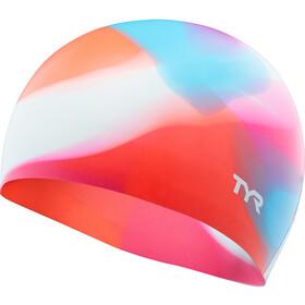 TYR Tie Dye Bonnet de bain en silicone Enfant, pink/blue